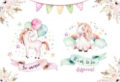 Vinilo Clipart aislado lindo del unicornio de la acuarela. Ilustración de unicornios de guardería. Princesa arco iris unicornios cartel. Moda caballo de dibujos animados de color rosa.