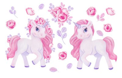 Vinilo Clipart with watercolor hand draw unicorn and flowers