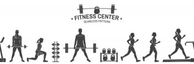 Vinilo Club de fitness de patrones sin fisuras o de fondo. Ilustración vectorial