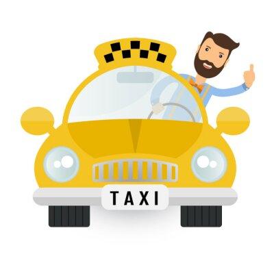 Vinilo coche amarillo del taxi - icono vectorial