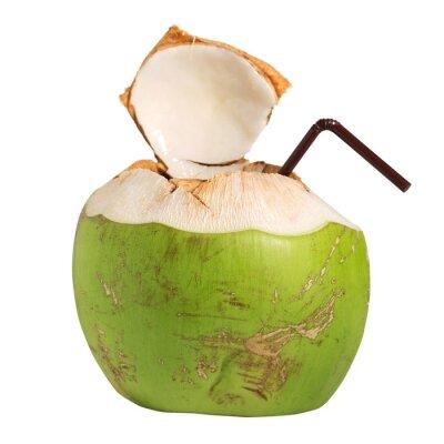 Vinilo Coco bebida de fruta de agua aislado en blanco