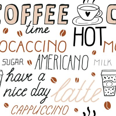 Vinilo Coffee seamless pattern with lettering. Vector Sketch Illustration with hand written calligraphy. Text about different types of coffee. Americano, latte, cappuccino. Breakfast drinks theme