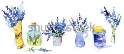 Vinilo Colección de flores de lavanda sobre un fondo blanco. Conjunto de flores vintage. Hierbas del jardín. Hierbas aisladas en blanco. Planta de hierbas. Jardinería de diseño rural. Floreria, decoracion de