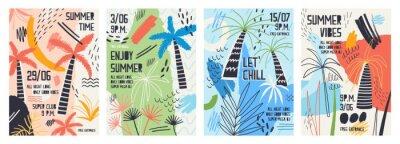 Vinilo Colección de plantillas de invitación o póster decoradas con palmeras tropicales, manchas de pintura, borrones y garabatos para una fiesta de verano al aire libre. Ilustración del vector para la promo