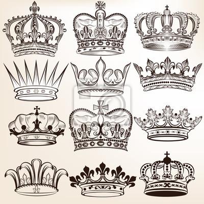 Colección De Vectores De Coronas Reales Para El Diseño Heráldico