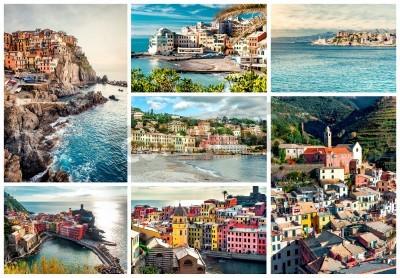 Vinilo Collage de la mayoría de los lugares de interés turístico en Italia. Liguria Génova, Manarola, Vernazza, Bogliasco, Santa Margherita.