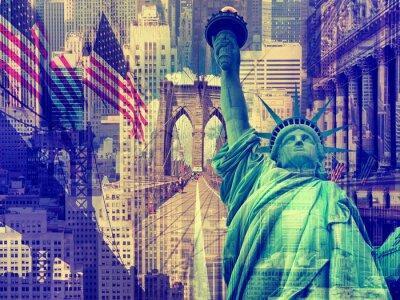 Vinilo Collage que contiene varios puntos de referencia de Nueva York