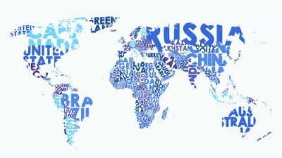 Vinilo Color political map of the world consisting of country names, text composition detailed vector illustration