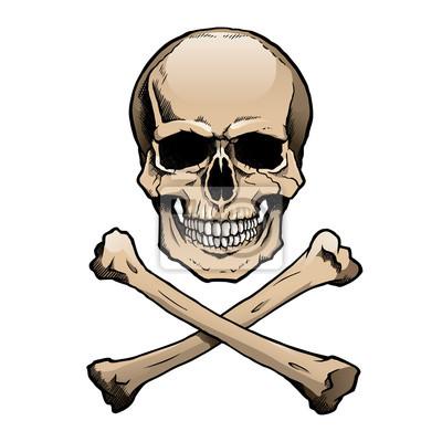 Coloreado cráneo humano y huesos cruzados. vinilos para portátiles ...