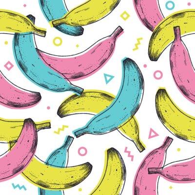 Vinilo Colored fun banana seamless pattern. 90s style background. Vector illustration
