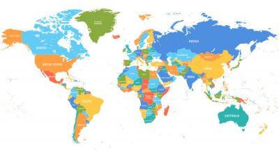 Vinilo Colored world map. Political maps, colourful world countries and country names. Geography politics map, world land atlas or planet cartography vector illustration