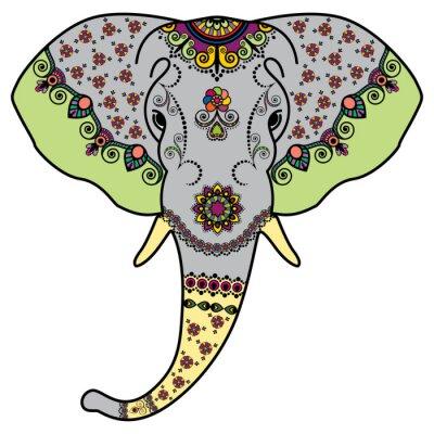 Vinilo Coloree la cabeza del elefante en estilo indio de Mehndi. Ilustración vectorial aislados sobre fondo blanco