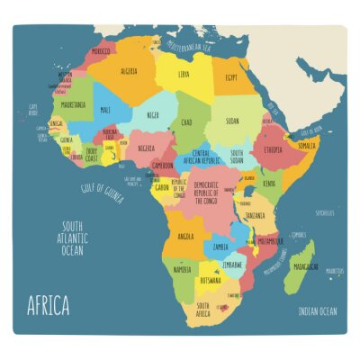 Vinilo Colorful hand drawn political map of Africa.