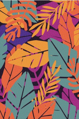 Vinilo Colorful leaves seamless pattern background vector illustration. Exotic plants, branches and leaves art print for beauty, fashion and natural products, spa and wellness, wedding and events poster