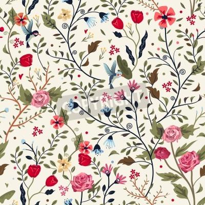 Vinilo colorido adorable patrón floral sobre fondo beige