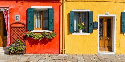 Vinilo Colorido fachada de la casa en Burano, Italia