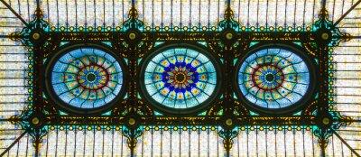Vinilo Colorido techo de cristal manchado en estilo art nouveau floral