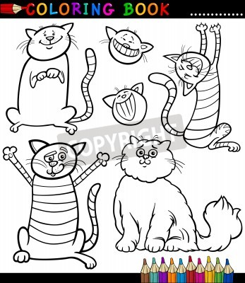 Coloring book o página para colorear animados blanco y negro vinilos ...