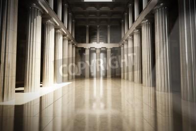 Vinilo Columna cuarto vacío interior, la ley o el fondo gobierno concepto, escena modelo 3d