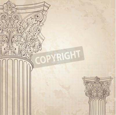 Vinilo Columnas clásicas de fondo sin fisuras. Columna corintio romano. Ilustración onold fondo de papel de dibujo de diseño
