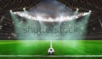 Vinilo comienza el juego de fútbol - Balón de fútbol en el estadio