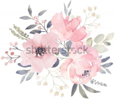 Vinilo Composición de ramo decorado con flores de acuarela rosa polvorientas y vegetación de eucalipto