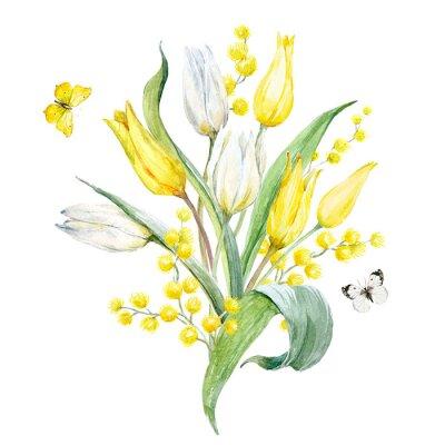 Vinilo Composición de tulipán de acuarela