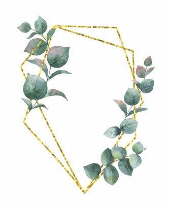 Vinilo Composición de vector de acuarela de las ramas de eucalipto y marco geométrico de oro.