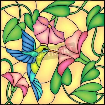 Vinilo Composición floral con flores tropicales y volar tarareando colibri de aves, ilustración vectorial