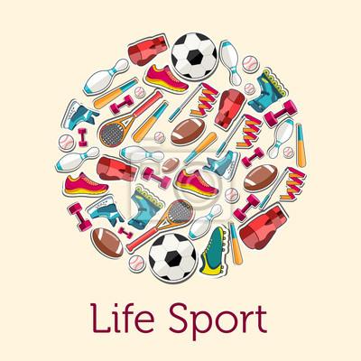 Vinilo Concepto Circular de artículos deportivos etiqueta fondo. vector 8545fd5a957e5