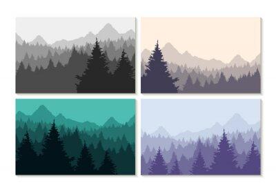 Vinilo Concepto de ilustración invierno paisaje forestal conjunto