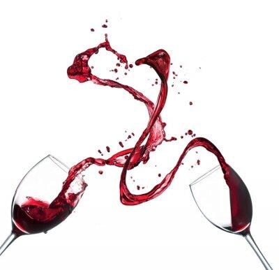 Vinilo Concepto de salpicaduras de vino tinto en vasos en el fondo blanco