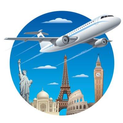 Vinilo concepto de transporte aéreo
