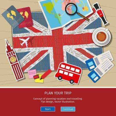 Vinilo Concepto de viajar o estudiar inglés.
