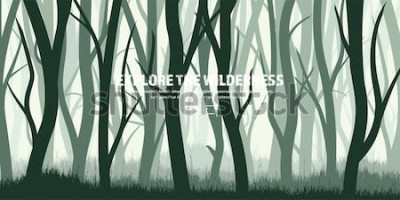 Vinilo Conjunto de árboles Bosque de pinos silvestres, fondo de naturaleza. Madera Ilustración vectorial Bandera. Árbol verde oscuro Paisaje Hierba, prado.