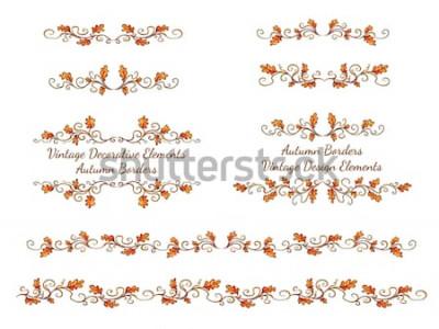 Vinilo Conjunto de bordes dibujados a mano con hojas de otoño