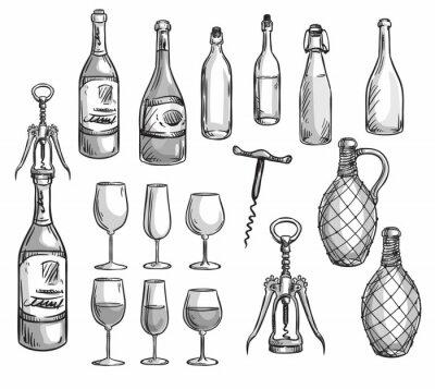 Vinilo Conjunto de botellas de vino, vasos y sacacorchos