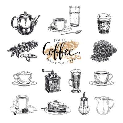 Vinilo Conjunto de café dibujado a mano vector. Bosquejo