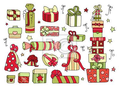 Conjunto De Cajas De Regalos Cute Doodle Para Su Celebración Vinilos