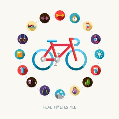 Vinilo Conjunto de deporte de diseño plano, aptitud y los iconos de estilo de vida saludable