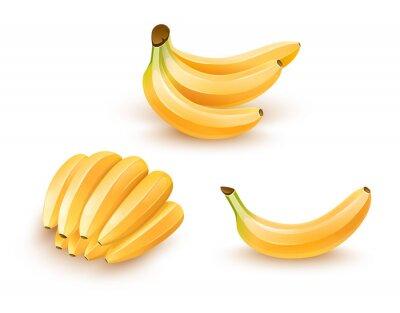 Vinilo Conjunto de frutas aisladas de plátano. Ilustración de Eps10.