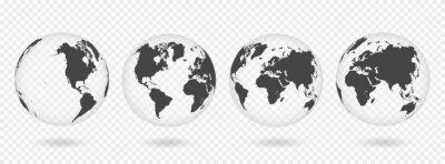 Vinilo Conjunto de globos transparentes de la tierra. Mapa del mundo realista en forma de globo con textura transparente y sombra