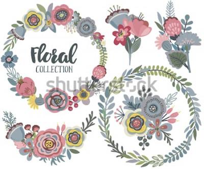 Vinilo Conjunto de gráficos vectoriales con hermosas flores, corona de flores, ramos. Colorida colección para saludar, guardar la fecha, invitaciones de boda