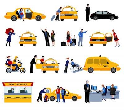 Vinilo Conjunto De Iconos De Servicio De Taxi