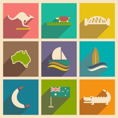 Vinilo Conjunto de iconos planos con sombra australiana