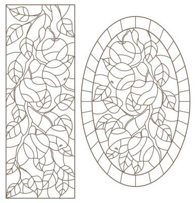 Vinilo Conjunto de ilustraciones de contorno de vidrieras con ramas de árbol, rama de manzano, contornos oscuros sobre fondo blanco, imágenes rectangulares y ovales