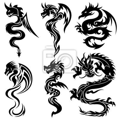 Conjunto De Los Dragones Chinos Tatuaje Tribal Vinilos Para