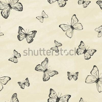 Vinilo Conjunto de mariposas dibujadas a mano. Colección entomológica de mariposas muy variadas dibujadas a mano. Estilo retro de la vendimia. Patrón sin costuras Ilustracion vectorial