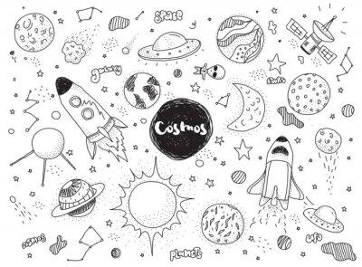 Vinilo Conjunto de objetos cósmicos. Doodles dibujados a mano del vector. Cohetes, planetas, constelaciones, ufo, estrellas, etc. Tema espacial.