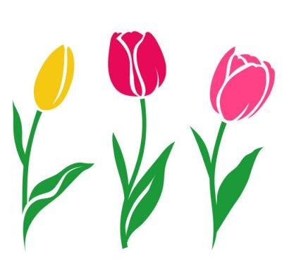 Vinilo Conjunto de silueta de tulipanes de colores. Ilustración del vector. Colección de flores decorativas